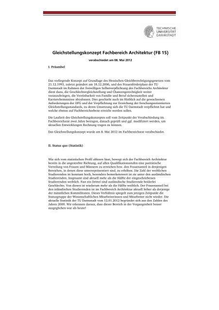Gleichstellungskonzept - Technische Universität Darmstadt