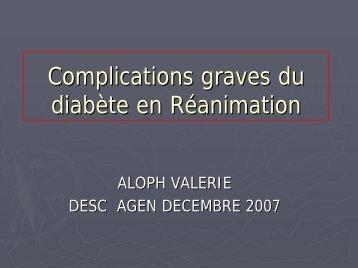 Complications graves du diabète en réanimation
