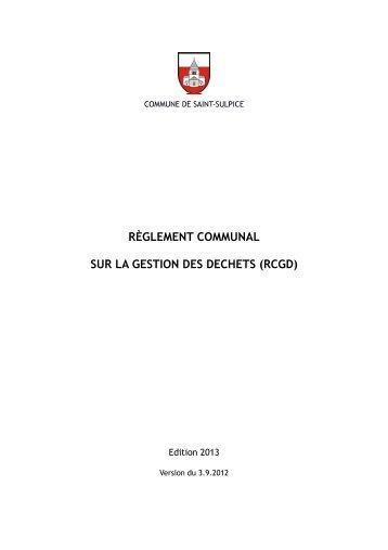 Règlement communal sur la gestion des déchets (RCGD) - St-Sulpice