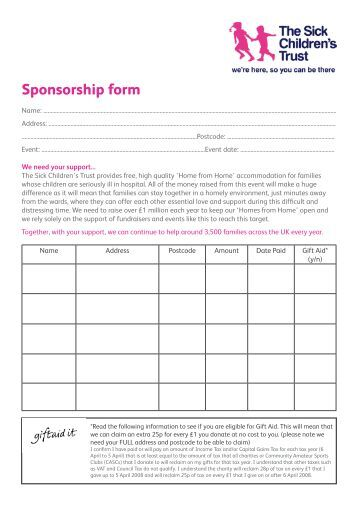 Charity Sponsor Form Template   Health Fair Sponsorship