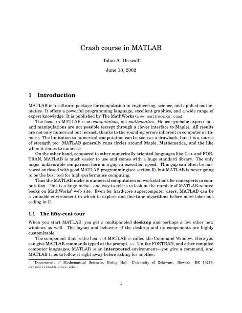 Basic MATLAB - Center for Fluid Mechanics, Turbulence and