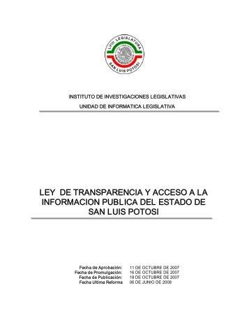 Ley de Transparencia y Acceso a la Información Publica del Estado ...