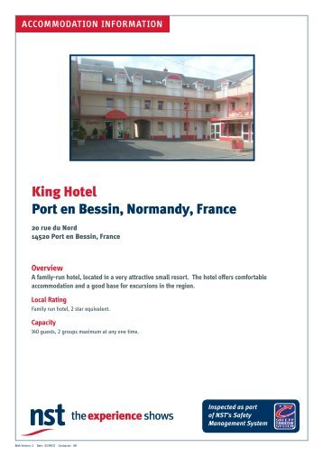 King Hotel Port en Bessin, Normandy, France - NST Travel Group