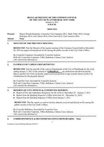 Meeting Minutes 01/06/11 - City of Plattsburgh