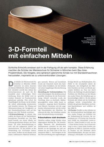 3-D-Formteil mit einfachen Mitteln - Meisterschule Schreiner München