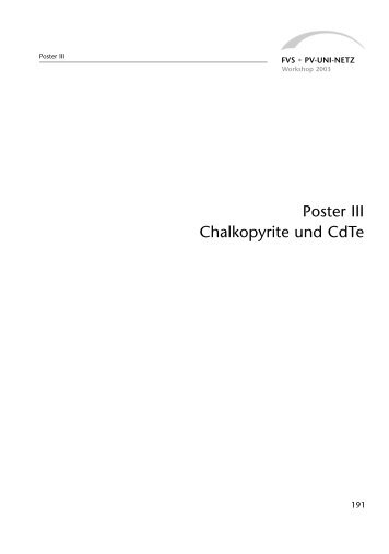 Poster III: Chalkopyrite und CdTe (2003) - PDF