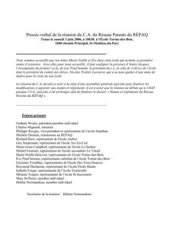 PV réunion Réseau-parents 3 juin 2006 - Réseau des écoles ...