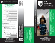 To download a brochure click here - The Reading Institute