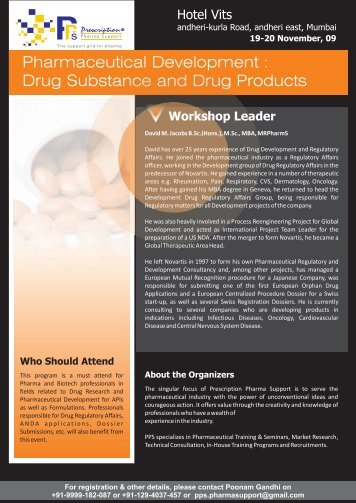 Pharmaceutical Development : Drug Substance and Drug Products