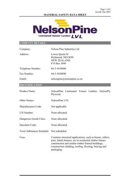 NelsonPine LVL Untreated MSDS - Nelson Pine Industries Ltd