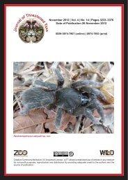November 2012 | Vol. 4 | No. 14 - Journal of Threatened Taxa