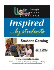 Student Catalog 2011-2012 - West Georgia Technical College