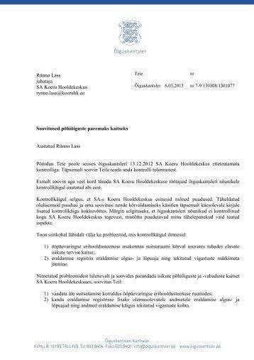 SA Koeru Hooldekeskus_soovitus - Õiguskantsler