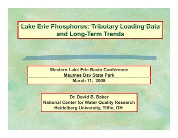 Lake Erie Phosphorus - Western Lake Erie Basin Partnership