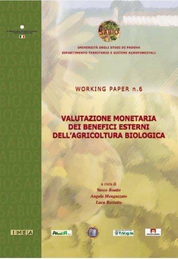 La valutazione monetaria dei benefici esterni dell'agricoltura biologica