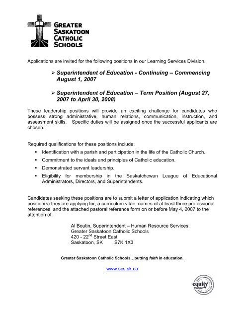 Superintendent of Education - Greater Saskatoon Catholic Schools