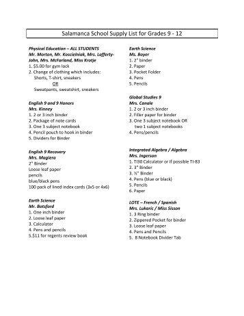 Salamanca School Supply List for Grades 9 - 12