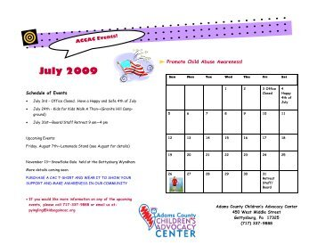 Calender of events 2009.pub - Adams County Children's Advocacy ...