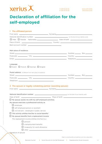 Declaration of affiliation for the self-employed - Xerius