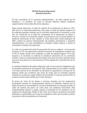 XXXVII Encuesta Empresarial Resumen Ejecutivo El bajo ...
