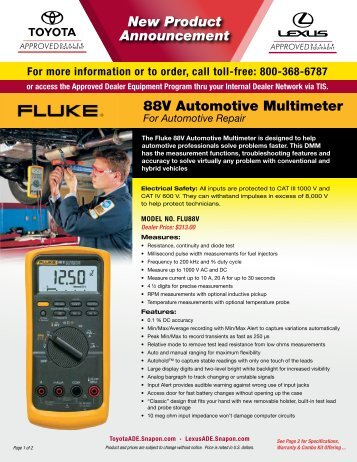 New Product Announcement 88V Automotive Multimeter - Toyota ...