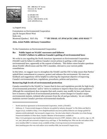 submitted a letter to the CEC - West Coast Environmental Law