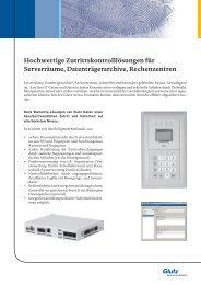 Hochwertige Zutrittskontrolllösungen für Serverräume ... - Sersys AG