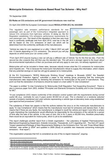 Emissions – Cheaper Road Tax - Right To Ride