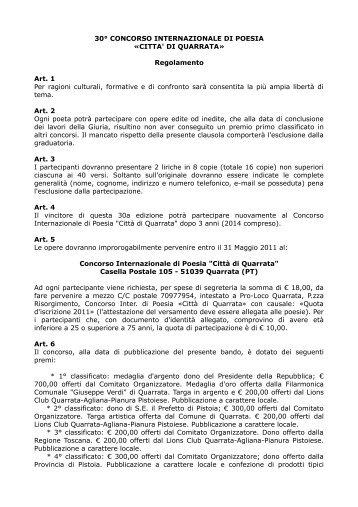 30° CONCORSO INTERNAZIONALE DI POESIA ... - Concorsi Letterari