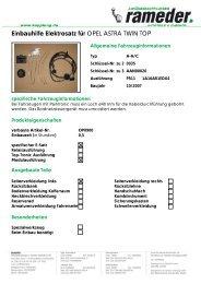 Einbauhilfe Elektrosatz für OPEL ASTRA TWIN TOP
