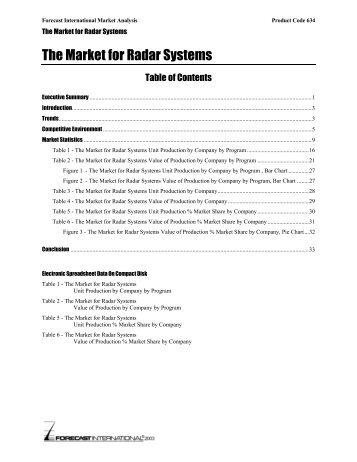 The Market for Radar Systems - Forecast International