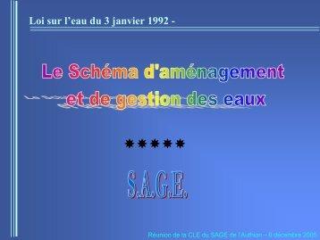 Diaporama n°2 06 décembre 2005 (PDF - 885.9 ... - Sage de l'Authion
