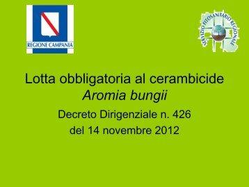 Il piano di azione contro l'Aromia bungii - Regione Campania