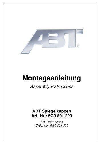 Montageanleitung für ABT Spiegelkappen