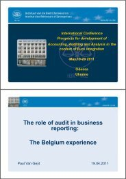 The role of audit in business reporting: The Belgium ... - FINREP