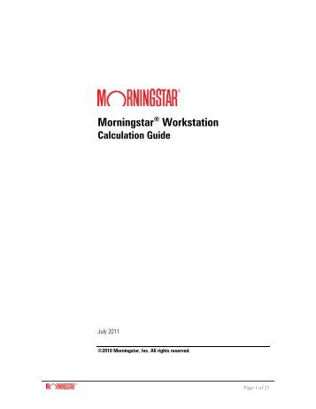 Workstation Calculation Guide - Morningstar