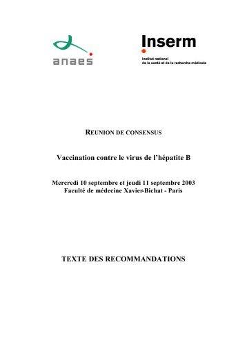 Vaccination contre le virus de l'hépatite B TEXTE DES ... - Afef