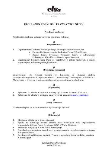 Regulamin Konkursu Prawa Cywilnego
