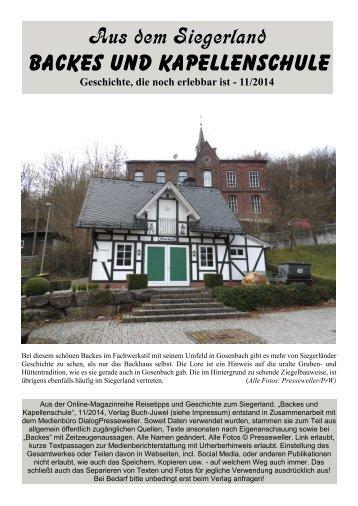 Im Siegerland: Backes und Kapellenschule