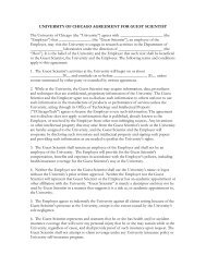 UNIVERSITY OF CHICAGO AGREEMENT FOR GUEST SCIENTIST ...