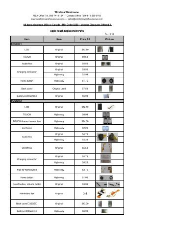 3.5 Apple Itouch Replacement Parts