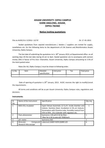 Notice inviting quotation for laboratory assam university notice inviting quotation for supplyinstallation of assam university altavistaventures Choice Image
