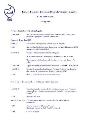Programa provisional del congreso de Viena de 2013