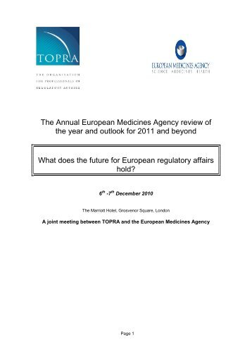 The Annual European Medicines Agency review of the ... - TOPRA