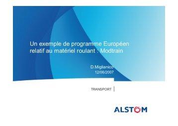 Un exemple de programme Européen relatif au matériel ... - I-Trans