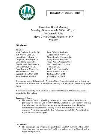 BOARD OF DIRECTORS Executive Board Meeting ... - macpza