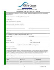 City of Johns Creek Application for Administrative Permit