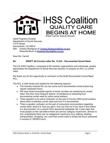 Eileen Carroll - IHSS   In-Home Supportive Services Coalition