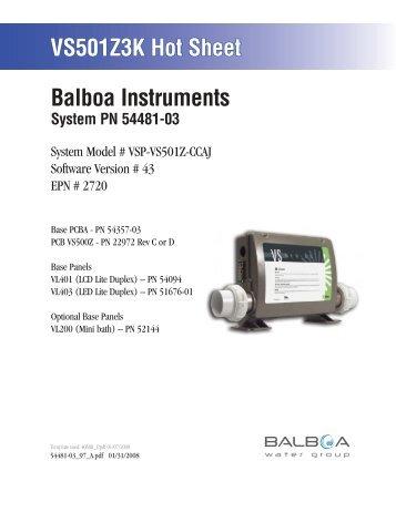 54481-03, VSP-VS501Z-CCAJ - Balboa Direct