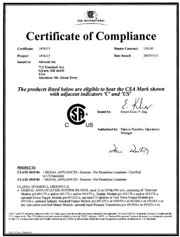 Csa certificate of compliance non hazardous specific systems csa certificate of compliance annunciators de 30xx altronic inc thecheapjerseys Image collections